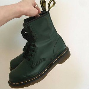 Dr. Martens Emerald Green Leather Boots Size 6